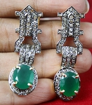 Rose Cut Earrings 4.95 Ct Natural Certified Diamond Emerald 925 Sterling Silver Party