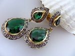 Antique Earrings 6.64 Ct Natural Certified Diamond Emerald 925 Sterling Silver Everyday