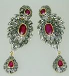 Antique Diamond Earrings 7.50 Ct Natural Certified Diamond Ruby 925 Sterling Silver Office Wear