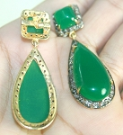 Victorian Drop Earrings 4.00 Ct Natural Certified Diamond Emerald 925 Sterling Silver Wedding