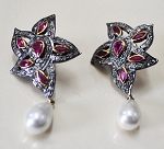 Rose Cut Earrings 3.85 Ct Natural Certified Diamond Pearl 925 Sterling Silver Workwear