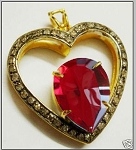 Vintage Diamond Pendant 1.50 Ct Natural Certified Diamond Ruby 925 Sterling Silver Weekend