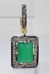 Antique Pendants 2.50 Ct Natural Certified Diamond Emerald 925 Sterling Silver Party