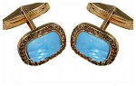 Antique Cufflinks 2.66 Ct Natural Certified Diamond Turquoise 925 Sterling Silver Office Wear