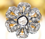 Vintage Art Deco Rings 0.60 Ct Natural Certified Diamond 925 Sterling Silver Workwear
