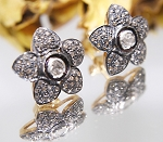 Antique Earrings 1.00 Ct Natural Certified Diamond 925 Sterling Silver Wedding