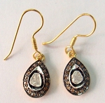 Antique Drop Earrings 0.90 Ct Natural Certified Diamond 925 Sterling Silver Office Wear