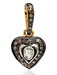 Polki Pendant 0.45 Ct Natural Certified Diamond 925 Sterling Silver Office Wear