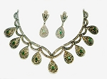 Uncut Diamond Necklace Sets 8.32 Ct Natural Certified Diamond Emerald 1.50 Ct 925 Sterling Silver Special Occasion