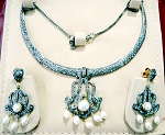 Victorian Necklace 6.85 Ct Natural Certified Diamond Pearl 5.60 Ct 925 Sterling Silver Wedding