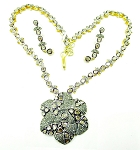 Antique Necklace 12.75 Ct Natural Certified Diamond 925 Sterling Silver Workwear