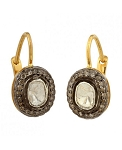 Victorian Earrings 1.13 Ct Natural Certified Diamond 925 Sterling Silver Workwear