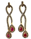 Antique Earrings 3.40 Ct Natural Certified Diamond 3.00 Ct Ruby 925 Sterling Silver Vacation