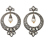 Antique Drop Earrings 5.75 Ct Natural Certified Diamond 2.50 Ct Pearl 925 Sterling Silver Festive