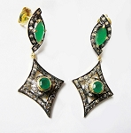 Victorian Earrings 1.75 Ct Natural Certified Diamond 1.50 Ct Emerald 925 Sterling Silver Vacation