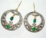 Vintage Diamond Earrings 2.30 Ct Natural Certified Diamond 1.60 Ct Gemstone 925 Sterling Silver Special Occasion