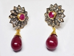 Victorian Drop Earrings 1.00 Ct Rose Cut Natural Certified Diamond 2.60 Ct Ruby 925 Sterling Silver Wedding