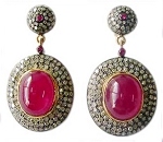 Polki Earrings 5.62 Ct Natural Certified Diamond 4.00 Ct Ruby 925 Sterling Silver Party