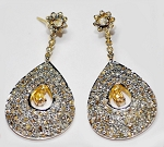 Rose Cut Earrings 4.02 Ct Natural Certified Diamond 925 Sterling Silver Workwear