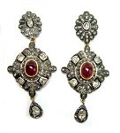 Victorian Earrings 2.65 Ct Natural Certified Diamond 1.50 Ct Ruby 925 Sterling Silver Everyday