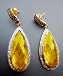 Art Deco Earrings 2.20 Ct Natural Certified Diamond 4.00 Ct Golden Topaz 925 Sterling Silver Wedding