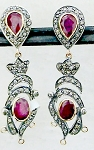 Victorian Drop Earrings 1.76 Ct Natural Certified Diamond 2.00 Ct Ruby 925 Sterling Silver Festive