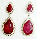 Polki Earrings 2.00 Ct Natural Certified Diamond 4.50 Ct Ruby 925 Sterling Silver Workwear