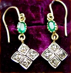 Antique Earrings 0.40 Ct Natural Certified Diamond 0.70 Ct Emerald 925 Sterling Silver Special Occasion