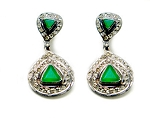 Vintage Diamond Earrings 1.44 Ct Natural Certified Diamond 1.50 Ct Emerald 925 Sterling Silver Engagement