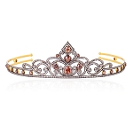 Bridal Tiaras 9.6 Ct Natural Certified Diamond Ruby 925 Sterling Silver Bridal Headpieces