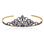 Princess Tiara And Crown 9.32 Ct Natural Certified Diamond Blue Sapphire 925 Sterling Silver Brithday Tiara