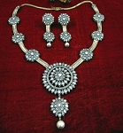 Antique Diamond Necklace 14.45 Ct Natural Certified Diamond 925 Sterling Silver Weekend