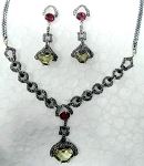 Vintage Necklaces 6 Ct Natural Certified Diamond Ruby Topaz 925 Sterling Silver Everyday