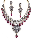 Victorian Necklace 19.5 Ct Natural Certified Diamond Ruby 925 Sterling Silver Weekend