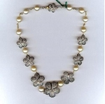Victorian Diamond Necklace 6.5 Ct Natural Certified Diamond Pearl 925 Sterling Silver Weekend