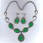 Antique Diamond Necklace 5.7 Ct Natural Certified Diamond Emerald 925 Sterling Silver Workwear