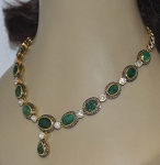 Polki Necklace 7 Ct Natural Certified Diamond Emerald 925 Sterling Silver Anniversary