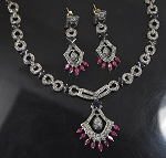 Uncut Diamond Necklace 6 Ct Natural Certified Diamond Ruby Sapphire 925 Sterling Silver Wedding