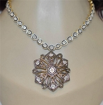 Victorian Diamond Necklace 7 Ct Natural Certified Diamond 925 Sterling Silver Party