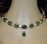 Victorian Necklace 10.5 Ct Natural Certified Diamond Emerlad 925 Sterling Silver Workwear