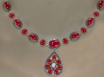 Antique Diamond Necklace 4.65 Ct Natural Certified Diamond Ruby 925 Sterling Silver Jewelry Vacation