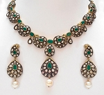 Vintage Style Necklaces 9.1 Ct Natural Certified Diamond Emerald Pearl 925 Sterling Silver Office Wear
