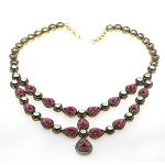 Polki Necklace 14 Ct Natural Certified Diamond Ruby Topaz 925 Sterling Silver Engagement