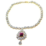 Uncut Diamond Necklace Sets 5 Ct Natural Certified Diamond Ruby 925 Sterling Silver Weekend