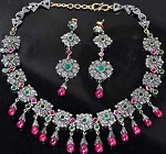 Vintage Diamond Necklace 17 Ct Natural Certified Diamond Ruby Emerald 925 Sterling Silver Office Wear