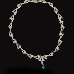 Antique Necklace 6.5 Ct Natural Certified Diamond Emerald 925 Sterling Silver Anniversary