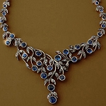 Uncut Necklace 4.5 Ct Natural Certified Diamond Blue Sapphire 925 Sterling Silver Festive