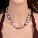 Victorian Necklace 17.6 Ct Natural Certified Diamond 925 Sterling Silver Jewelry Everyday