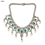 Vintage Style Necklaces 7.65 Ct Natural Certified Diamond Emerald Pearl 925 Sterling Silver Anniversary
