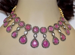 Uncut Diamond Necklace Sets 8.3 Ct Natural Certified Diamond Ruby 925 Sterling Silver Workwear